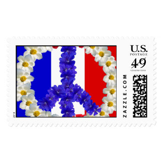 french flag peace sign postage