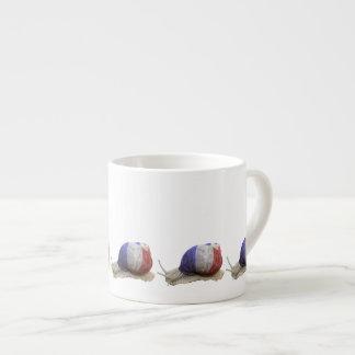 French flag snail 6 oz ceramic espresso cup