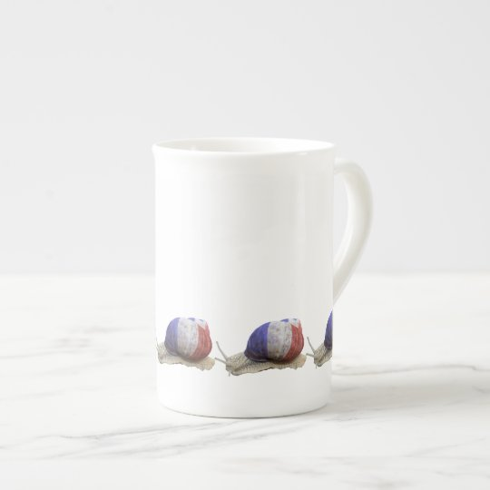 French flag snail tea cup