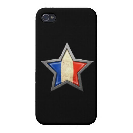 French Flag Star on Black iPhone 4 Cover