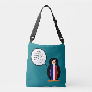 French Flag Talking Penguin Crossbody Bag