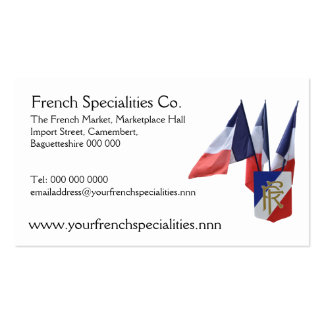 French flags specialty importers business card