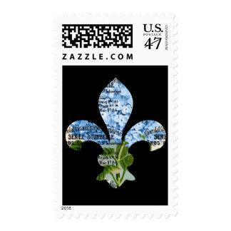 French Fleur de Lis Blue Hydrangea Stamp