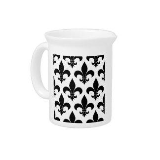 French fleur de lis Pattern Parisian Design Beverage Pitchers