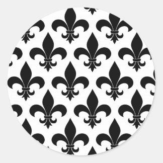 French fleur de lis Pattern Parisian Design Classic Round Sticker