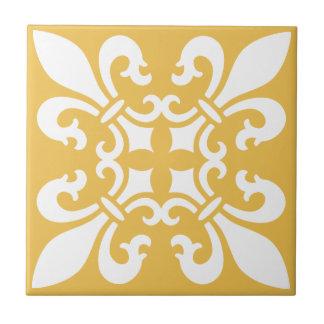 French Fleur de Lys Pattern Customizable Color Tile