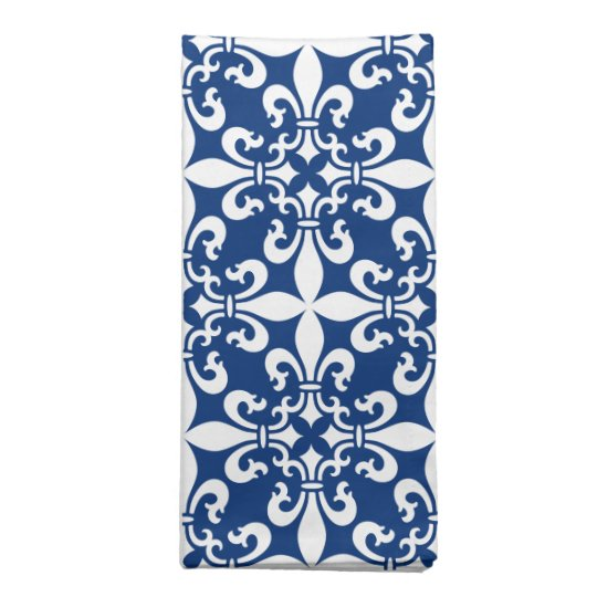 french fleur de lys pattern royal blue napkin zazzle com