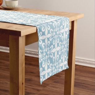 French Fleur De Lys Pattern Sky Blue Short Table Runner