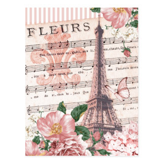 French Fleur Eiffel Tower Collage Pink Postcard