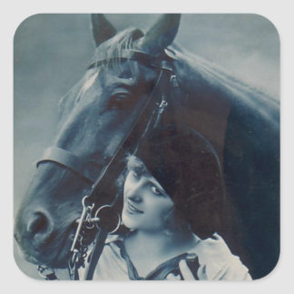 French Flirt - Glamour Girl and Her Horse Square Sticker