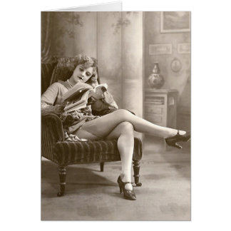 French Flirt - Hosiery Pinup Girl Stationery Note Card