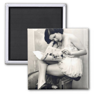 French Flirt - Vintage Pinup Girl 2 Inch Square Magnet