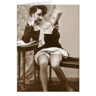 French Flirt - Vintage Pinup Girl Reading Card