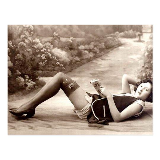 French Flirt - Vintage Pinup Girl Reading Postcard