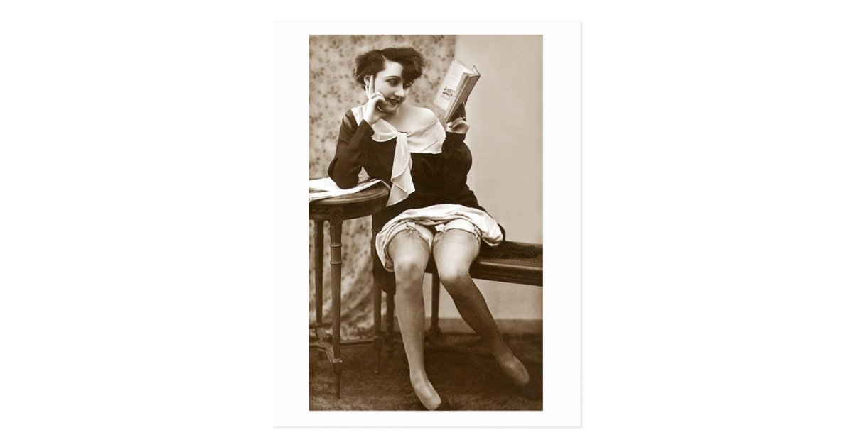 French Flirt Vintage Pinup Girl Reading Postcard