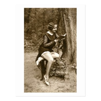 French Flirt - Vintage Pinup Girl Reading Tease Postcard