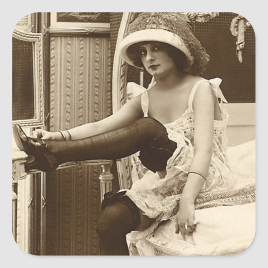 French Flirt  - Vintage Pinup Girl Square Sticker