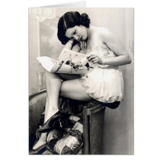 French Flirt - Vintage Pinup Girl Stationery Note Card