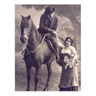 French Flirt - Vintage Romantic Horse Postcard