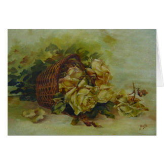 French floral basket greeting card