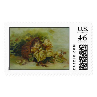 French floral basket stamp