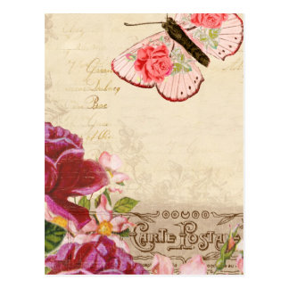 French Floral Carte Postale Postcard
