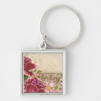 French Floral Carte Postale Silver-Colored Square Keychain
