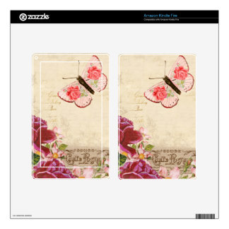 French Floral Carte Postale Decals For Kindle Fire