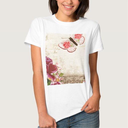 French Floral Carte Postale Tshirt