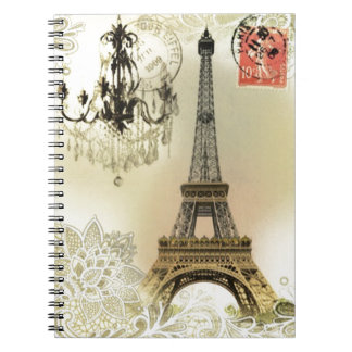 French floral lace chic paris girly eiffel tower notebook