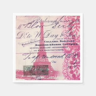 French floral lace chic paris girly eiffel tower paper napkin