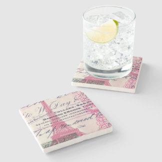 French floral lace chic paris girly eiffel tower stone coaster