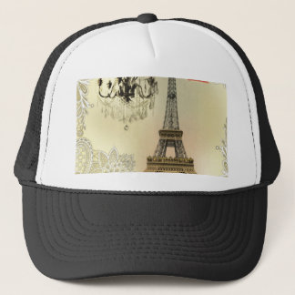 French floral lace chic paris girly eiffel tower trucker hat