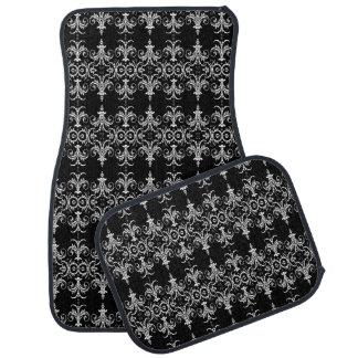 French floral swirl black white floor mat