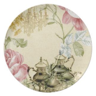 French floral Teacup Teapot Paris Tea Party Dinner Plate