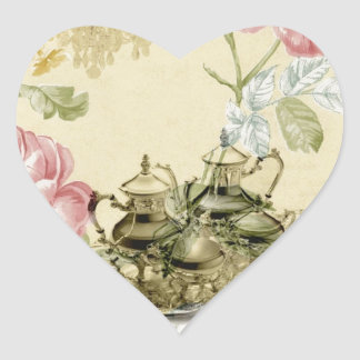 French floral Teacup Teapot Paris Tea Party Heart Sticker