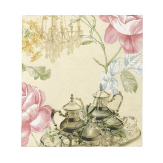 French floral Teacup Teapot Paris Tea Party Notepad