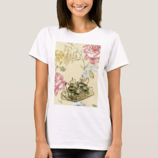 French floral Teacup Teapot Paris Tea Party T-Shirt