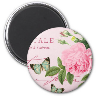 French floral vintage magnet girly w/ pink rose