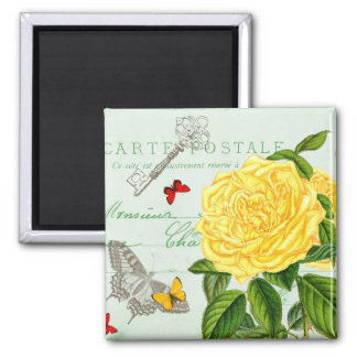 French floral vintage magnet w/ yellow rose