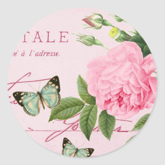 French floral vintage sticker girly w/ pink rose