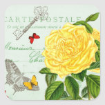 French floral vintage sticker w/ beautiful  rose