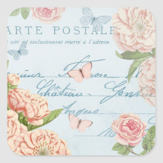 French floral vintage sticker w/ flowers
