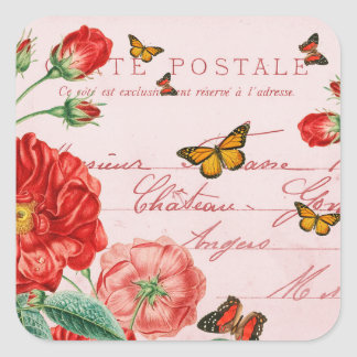 French floral vintage stickers w/ red flower