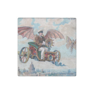 French flying machine - Victorian steampunk pilot Stone Magnet