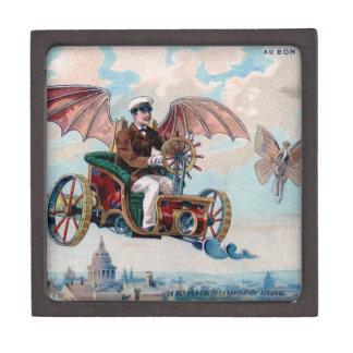 French flying machine - Victorian steampunk pilot Jewelry Box
