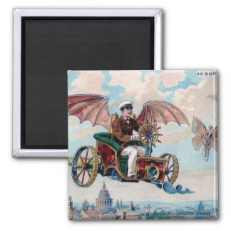 French flying machine - Victorian steampunk pilot 2 Inch Square Magnet