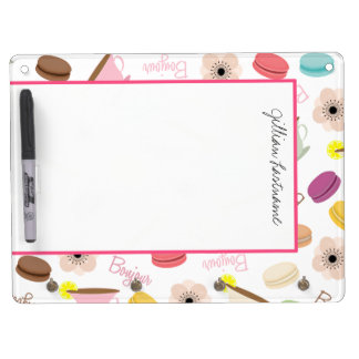 French Food Themed Dry Erase Board With Hooks