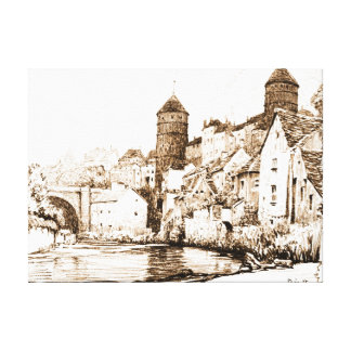 French Fortified Town 1922 Gallery Wrap Canvas