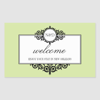 French frame green monogram out of town gift bag rectangular sticker